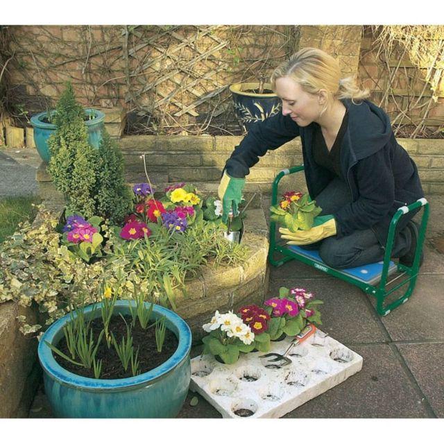 Sièges roulants, sièges et repose-genoux pour jardinage Splendide Draper Tools Siège/Agenouilloir pliant de jardin, Fer