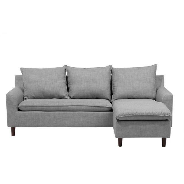 BELIANI Canapé angle en tissu gris clair ELVENES