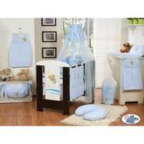 Autre - Lit et Parure de lit bébé bonne nuit bleu ciel de lit mousseline avec top coton 120 60