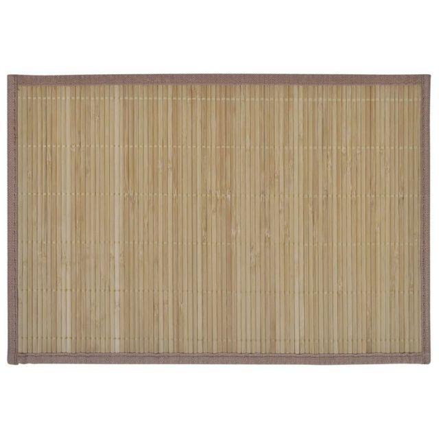 Icaverne - Sets de table serie 6 Napperons en bambou 30 x 45 cm Brun