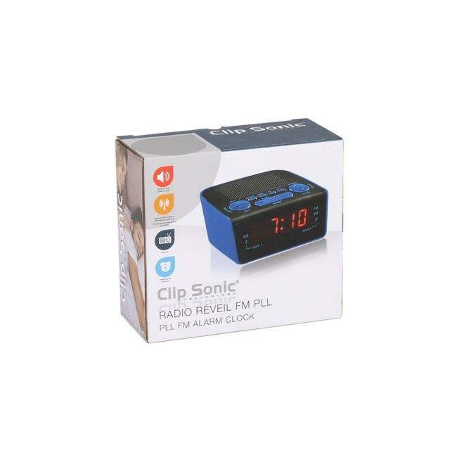 Clip Sonic Technology Radio réveil Pll bleu Ar314B pas