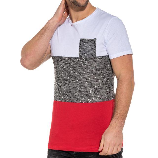 4c8d2cffdd3ad BLZ Jeans - Tee-shirt homme rouge blanc oversize avec poche - pas ...