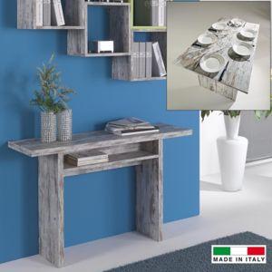 Made In Italia - Console extensible Julia bois vintage Gris - 35cm x 75cm x 120cm