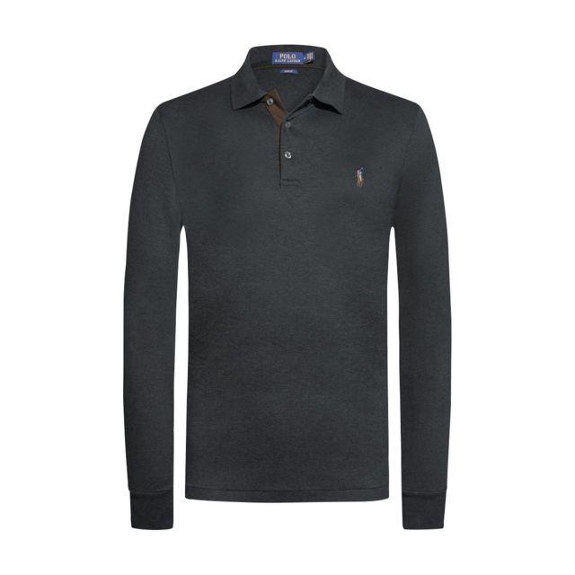 7d1c6fa203 Polo Ralph Lauren - Polo ml PimaAnthracite - pas cher Achat / Vente Polo  homme - RueDuCommerce