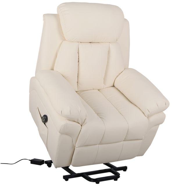 84ee26d91265ed HOMCOM - Fauteuil de relaxation électrique fauteuil releveur inclinable  avec repose-pied ajustable simili cuir
