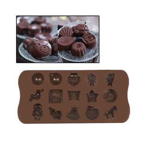 Yonis Plaque de mini moules silicone originaux 15 formes amusantes marron