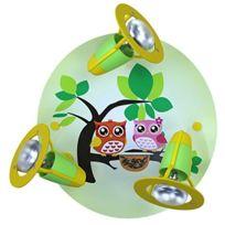 Elobra-Leuchten - 128251 Plafonnier À 3 Spots Avec Motif Hiboux Vert