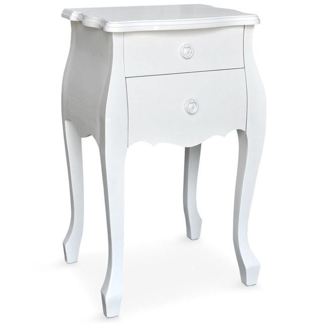 MENZZO Table de chevet 2 tiroirs Classica Laqué Blanc