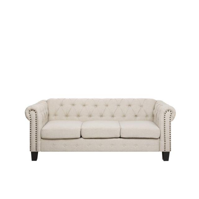 BELIANI Canapé 3 places en tissu beige avec pieds droits CHESTERFIELD