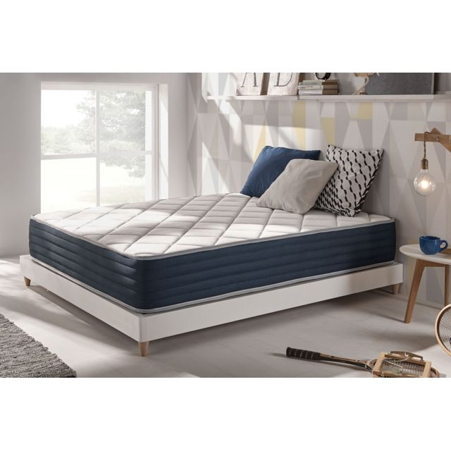 NATURALEX Matelas Royalvisco 160x200 cm à mémoire de forme Thermosoft® - Mousse HR BLUE LATEX® thérmorégulable à 7 zones de confor