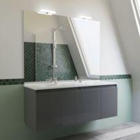 Meuble salle de bain double vasque PROLINE 140 - Gris brillant