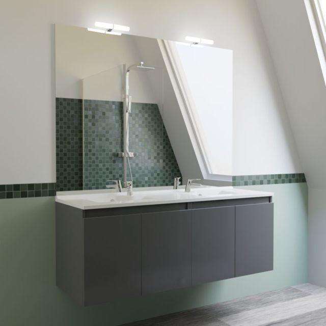 CREAZUR Meuble salle de bain double vasque PROLINE 140 - Gris brillant
