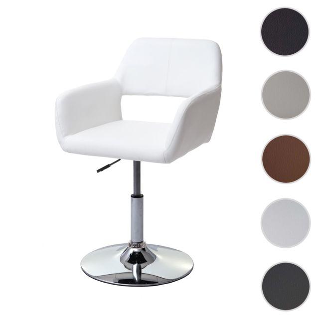 Chaise de salle à manger Hwc a50 Iii, style rétro années 50, similicuir ~ blanc, pied en métal chromé