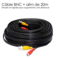 "SecuriteGOODdeal - Cable video Bnc video 12V de 20 m ""tout en un"