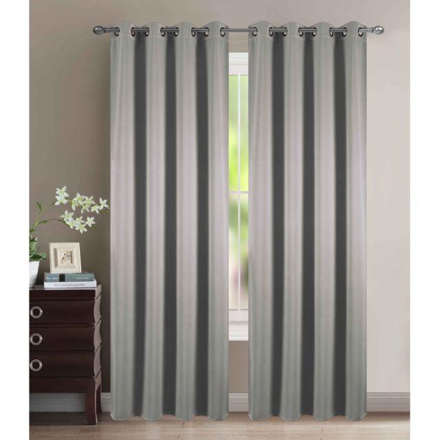 univers decor lot de 2 rideaux occultant thermique argent 140 x 260 cm gris pas cher achat. Black Bedroom Furniture Sets. Home Design Ideas
