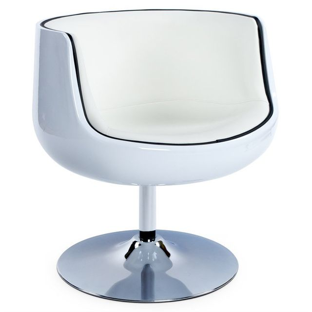 Alterego Fauteuil design 'DEKO' boule rotatif blanc