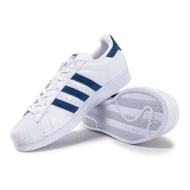 Adidas originals Superstar Blanche Et Bleu Foncé pas