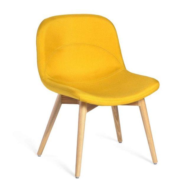 tousmesmeubles chaise basse tissu jaune negan - Chaise Basse