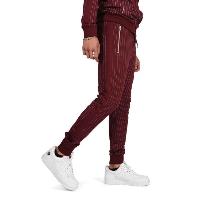 Project X Pantalon de jogging à rayures tennis et bandes contrastantes Homme Paris, Taille: L, Couleur: Bordeaux