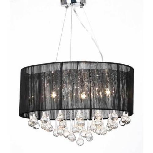 Lustre plafonnier noir 3 lampes 85 pampilles cristal