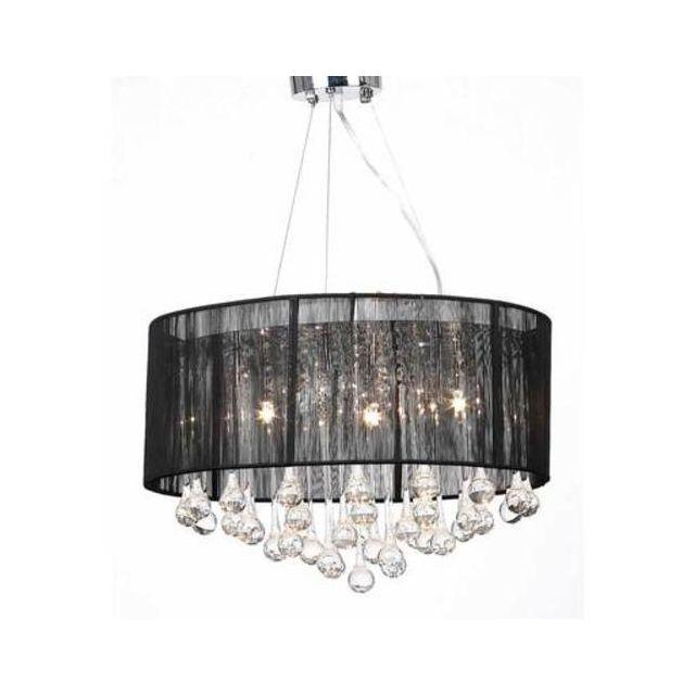 Destockoutils - Lustre plafonnier noir 3 lampes 85 pampilles cristal