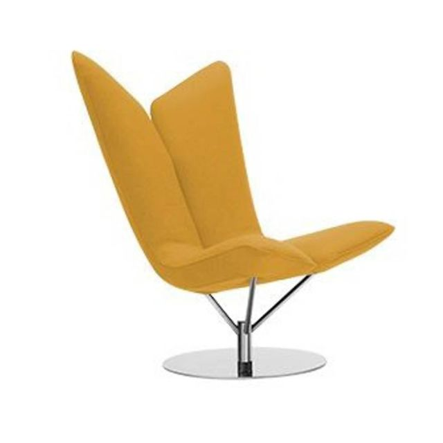 Inside 75 Fauteuil design Angel en tissu coton jaune Softline
