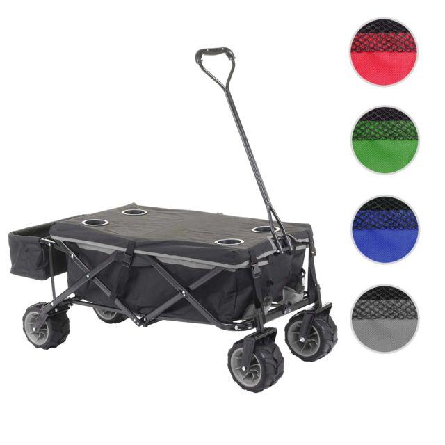 Mendler Chariot pliable Hwc-e62, charette à bras, pneus tout terrain ~ avec recouvrement noir/gris