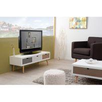 Kaligrafik - Meuble Tv bas en bois 3 tiroirs L120cm Evan