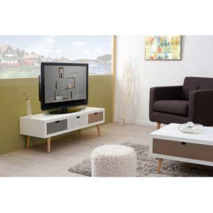 axe design meuble tv bas en bois 3 tiroirs l120cm evan With nice meuble bas cuisine 120 cm 5 meuble tv bas en bois 3 tiroirs l120cm evan