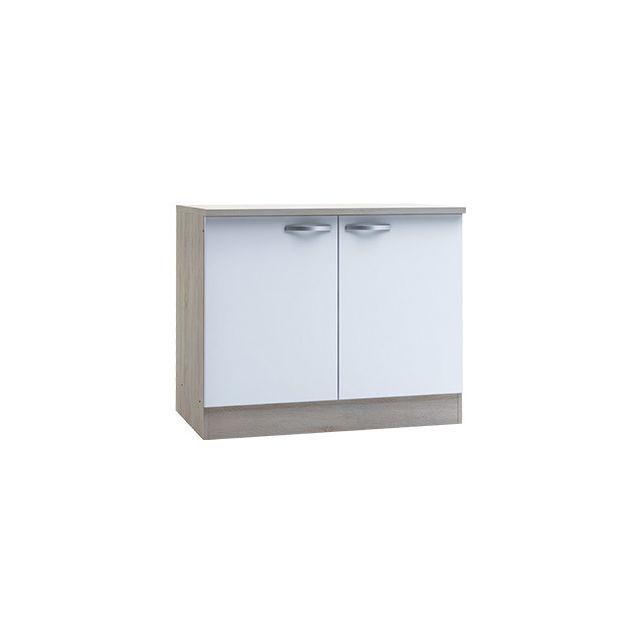 Meuble bas 2 portes - coloris chêne brossé et blanc mat