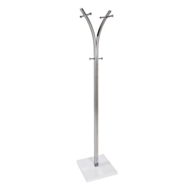 Marque Generique Porte manteaux sur pied design en acier 187cm chromé blanc Modern