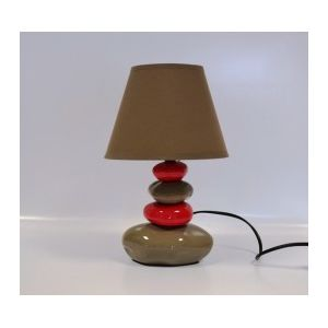 lampe de chevet galets taupe et rouge 31cm pas cher achat vente lampes poser rueducommerce. Black Bedroom Furniture Sets. Home Design Ideas