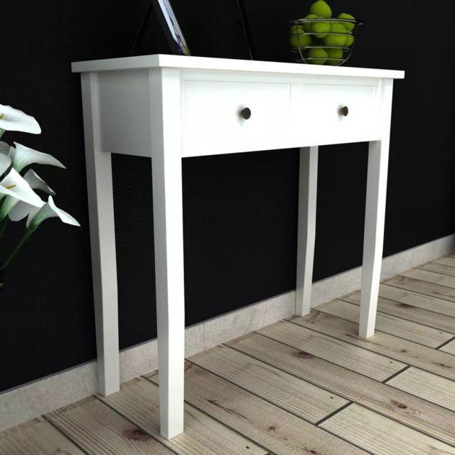 Admirable Consoles ligne Saint-Georges Table de console et coiffeuse avec 2 tiroirs Blanc