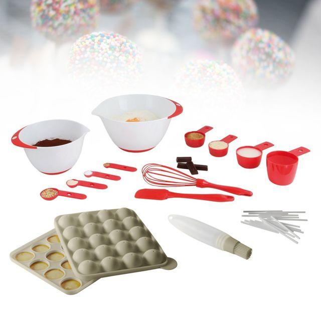 Kitchen Artist Kit moule cakepops bâtonnets et pinceau + Set 12 accessoires pâtisserie