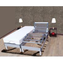 Lovea - Ensemble relaxation 100% latex 5 zones 73kg/m3 + sommier avec réglage fermeté au niveau lombaire