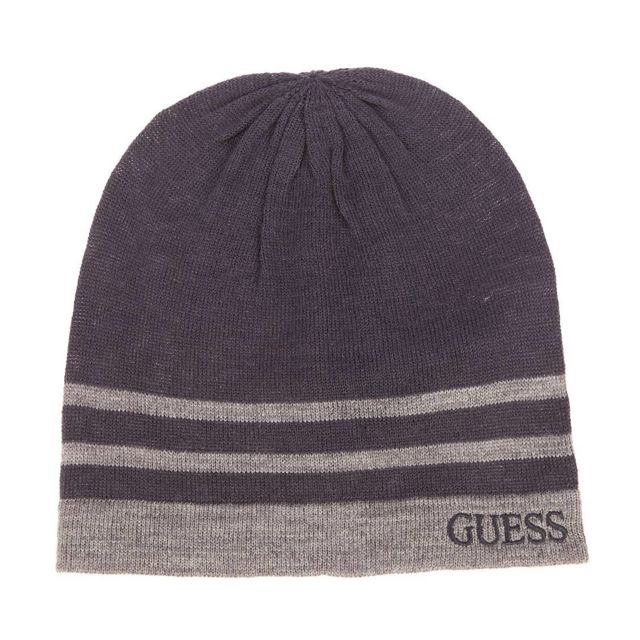 Guess - Bonnet en laine mélangée bleu marine à rayures gris foncé chiné  brodé - pas cher Achat   Vente Casquettes, bonnets, chapeaux - RueDuCommerce 86f66e90783