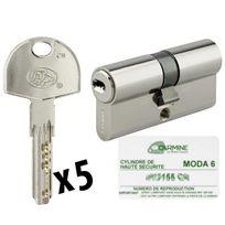 Bricorama - Cylindre de porte Haute sécurité debrayable 30 x 30 mm 5 clés et carte de propriété Barillet double entrée