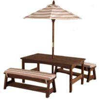 Sans Marque - KidKraft Jeu de table et banc de jardin pour enfants Beige Bois 00500