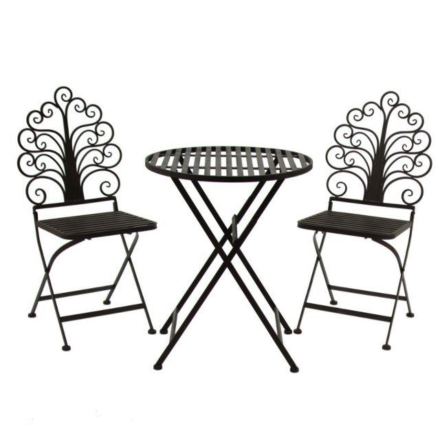 1 Table 2 chaises de jardin pliante pliable Fer Marron