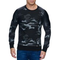 Violento - Pull col rond camouflage Pull homme 808 noir