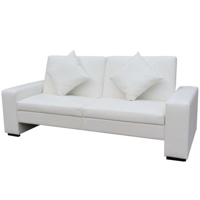 ICAVERNE Canapés ensemble Canapé-lit Cuir artificiel Blanc