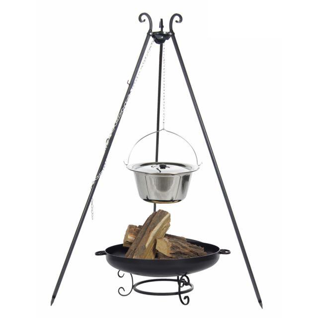 cook maison de la tendance chaudron en acier inoxydable 10 l avec couvercle sur tr pied. Black Bedroom Furniture Sets. Home Design Ideas