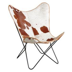 aubry gaspard fauteuil butterfly en peau de vache pas cher achat vente fauteuils. Black Bedroom Furniture Sets. Home Design Ideas
