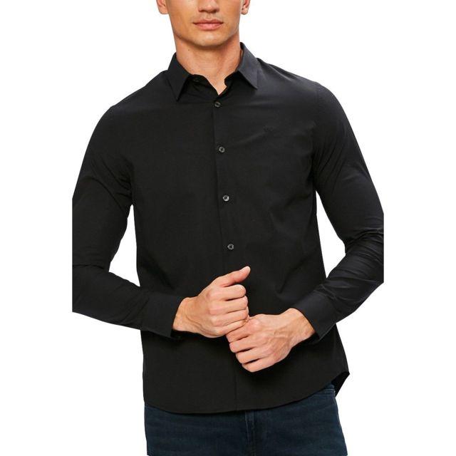 07bd2c52c3528 Calvin Klein - Chemise slim manches longues Ckj Logo Noir - pas cher ...