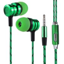 Wewoo - Ecouteur Kit Mains libre vert pour iPhone, iPad, Galaxy, Huawei, Xiaomi, Lg, Htc et Autres Smartphones 1.2 m Basse Stéréo Sound In-Ear Contrôle Du Fil Sport Écouteur avec Micro