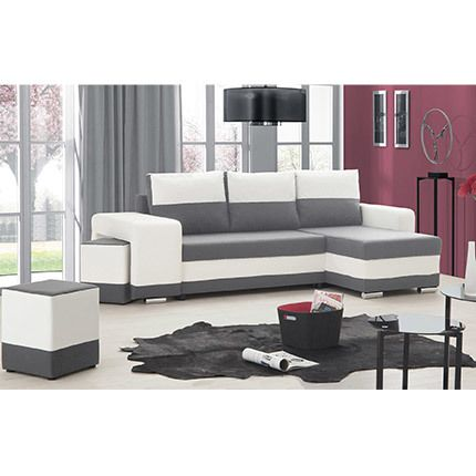 Canapé d'angle réversible convertible Pu - microfible blanc gris - Sefio