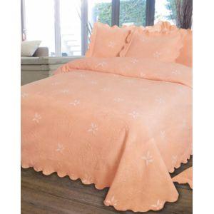 le linge de jules couvre lit piqu 1 personne 180x260 saumon orange pas cher achat vente. Black Bedroom Furniture Sets. Home Design Ideas