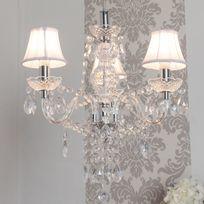 Muno - Lustre baroque 3 branches en acrylique et tissu Romeo - Transparent