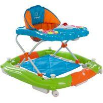 Sun Baby - Trotteur youpala balancelle interactive bébé 6-12 mois Petit Ours | Bleu, Orange et Vert