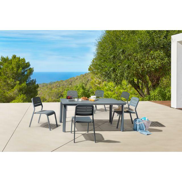 HYBA - Ensemble 1 table et 6 chaises de jardin URBAN - Gris foncé ...